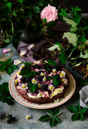 Blackberry Cake With Cream Cheese Frosting .style rustic. selective focus Stock fotó