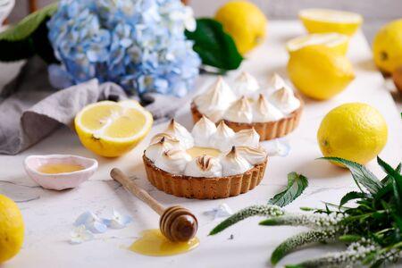 Vegan lemon meringue tart.style vintage.selective focus