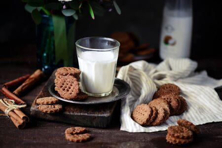 Buckwheat graham cracker vegan cookies..style rustic.selective focus