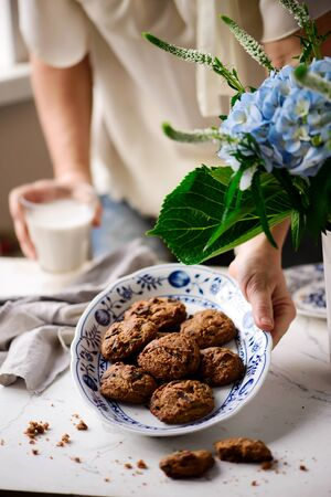 Almond chocolate chip vegan cookies..style rustic.selective focus