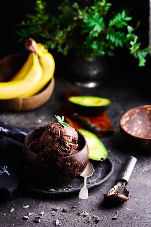 Vegan avocado banana nice cream... healthy desert.selective focus
