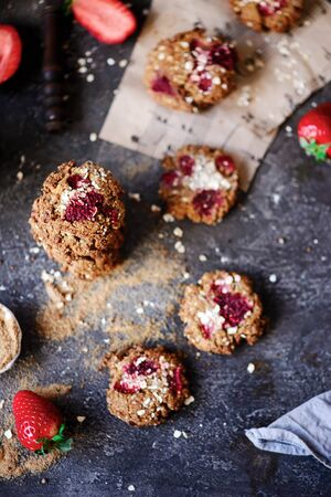 Strawberry oatmeal vegan cookies..style rustic.selective focus