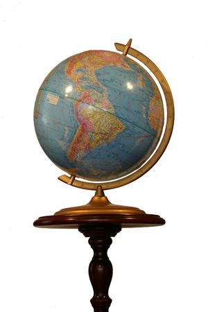 longitude: Blue Earth Globe with Politcal Map on a Stand