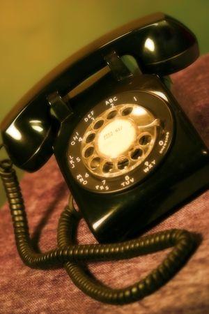 Black Rotary Desk Phone