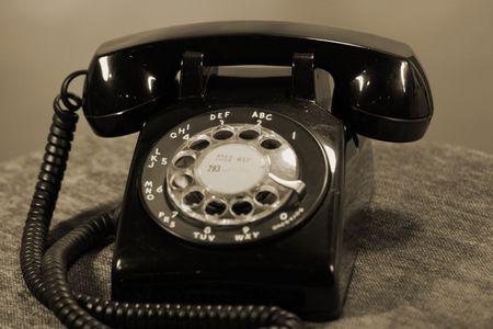 Black and White Rotary Desk Phone