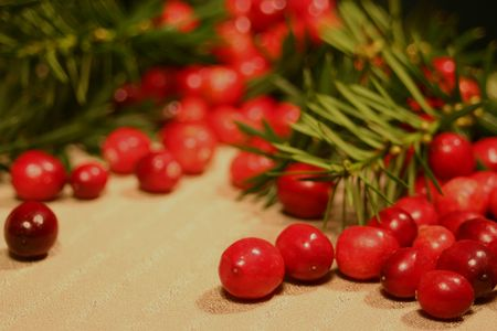 Cranberries spilling out mixed with pine