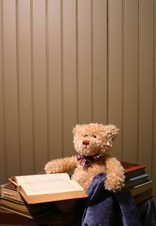 Wall background with a reading teddy bear