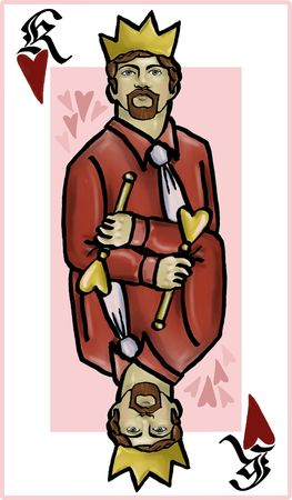 scepter: King of Hearts Playing Card Illustration