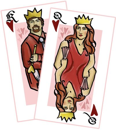 queen of hearts: King and Queen of Hearts playing card illustration