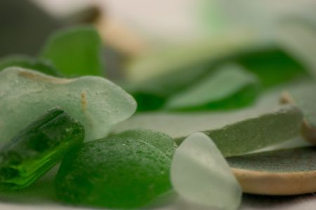 assorted sea glass extremely close up with a short depth of field.