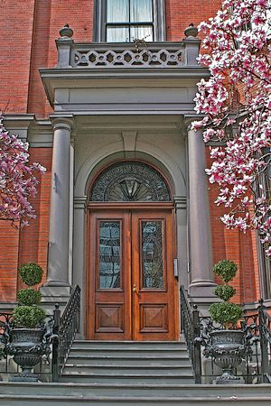 brownstone: Illustration of the entrance to a historic Bostonian brownstone apartment
