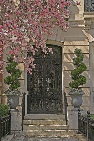 Entrance to number 13 on a historic Boston street in the spring.