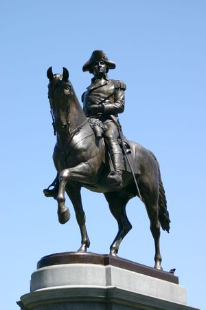 Statue of George Washington sitting astride his horse