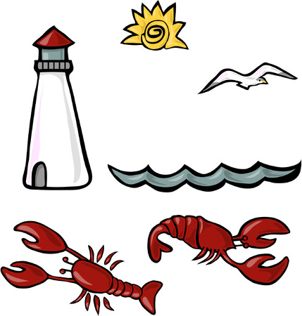 set of vector seaside themed cliparts  Иллюстрация