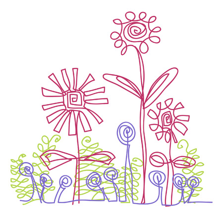 line vector drawing of geometric flowers