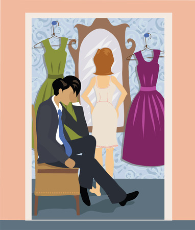 Man and woman in dressing room