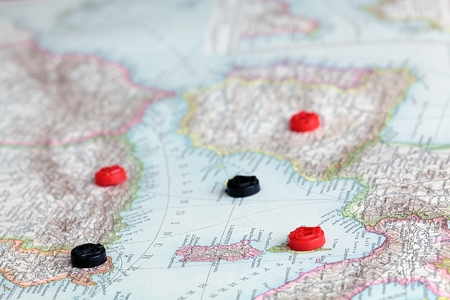 international monitoring: Tiles on a historical map Stock Photo
