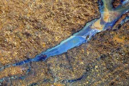 A vein of boulder opal in the host rock. photo