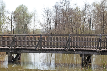 peaceably: A wooden bridge in Southern Germany.