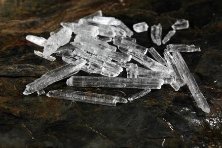 A macro photo of menthol crystals.