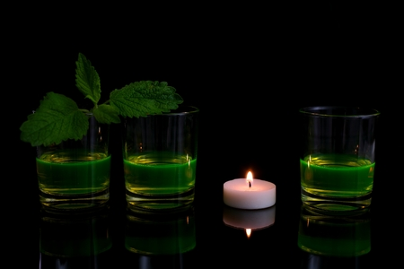 fluorescence: Glass with a glowing fluid