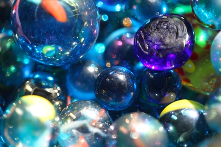 shinning: Shinning blue glass beads as texture or background.