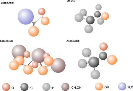 fermentation: The atomic arrangement in different molecules related to fermentation.