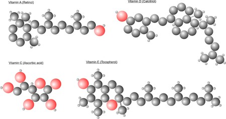 The atomic arrangement in different vitamin molecules. Red is oxygen, carbon black is gray and hydrogen. Illustration