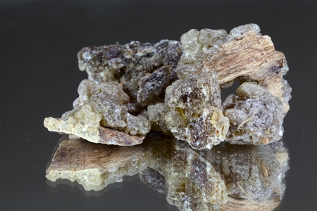 Frankincense: Pieces of natural frankincense resin on a mirror. Stock Photo