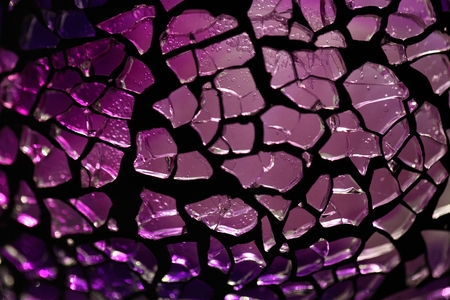 shiver: Purple glass fragments with a metal frame and backlight illumination.