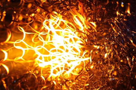 blowpipe: Glowing steel wool in the flame of a  blowpipe. Stock Photo