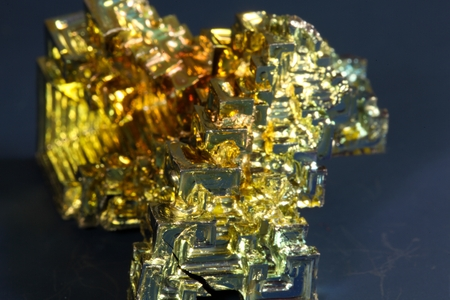 bismuth: Macro photo of a crystallized piece of Bismuth metal. Stock Photo