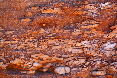 Surface of a red sandstone with white intercalations.