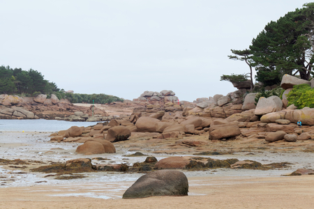 wadden: The pink granite coast in the North of Brittany, France. Stock Photo