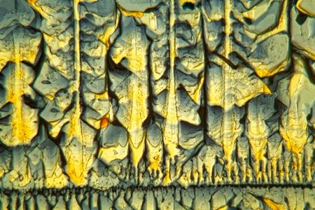 Symmetric grown crystals of Potassium ferricyanide under the microscope and in polarized light. Stockfoto