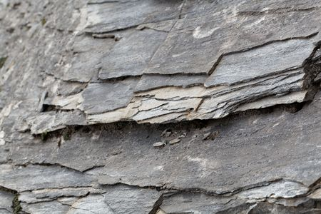 The surface of green schists of Paleozoic age from the Alps Stock Photo