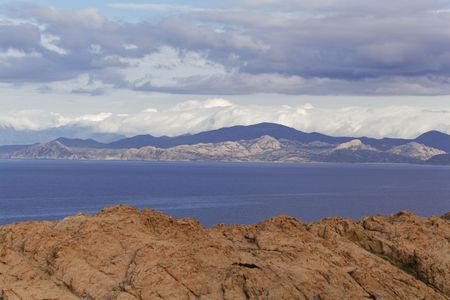 Landscape at the coast in Northern Corsica near Ile Rousse, France. Stockfoto