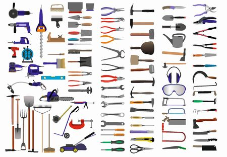 Set of 100 tools vector graphics related to home and garden work. Stock Illustratie