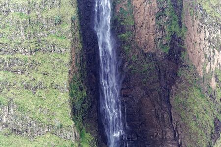 The Jin Bahir waterfall in the Geech Abyss canon in the Simien Mountains national park in Ethiopia.