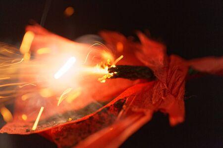 Macro photo of an exploding Sylvester firecracker.