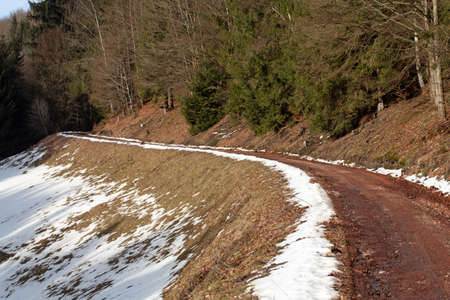 Way in the Thuringian forest mountains in Germany and in winter.