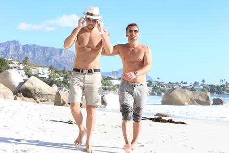 beach gay couple photo