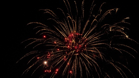 Colorful fireworks at holiday. Slow motion