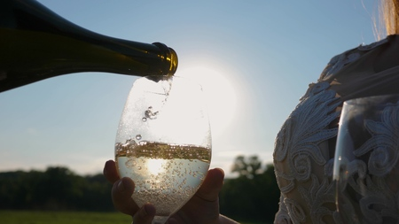 pour sparkling wine from bottle into transparent wine glasses against a sunset. teamwork of loving couple. celebrating success and victory. champagne sparkles and foams in sun. Slow motion