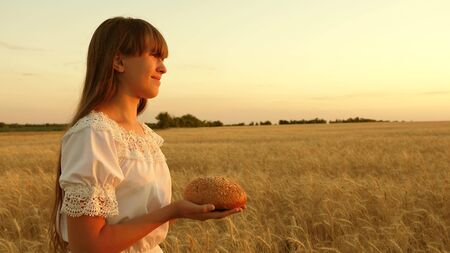 girl holds bread in her palms and goes across the field of mature wheat. loaf of bread in the hands of a girl over a wheat field in the rays of sunset. tasty loaf of bread on the palms.
