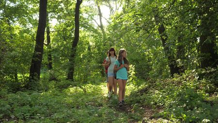 dad and daughters, children travel in park in summer. Family on vacation travels in forest. friends-tourists go camping in the forest. People walk through trees and grass. teamwork travelers
