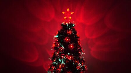 beautiful Christmas tree in room, decorated with a luminous garland and star. New Year 2020 mood. Christmas tree, happy holidays. Christmas interior. holiday for children and adults.