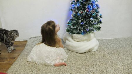 A little girl and a cat are playing in a room by the Christmas tree. happy childhood concept. child and christmas tree with beautiful garlands. christmas holidays concept