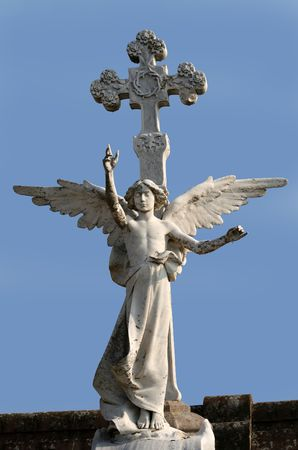 A statue of an angel. Photo took in a cemetary of Cantrabria, Spain. Stock Photo