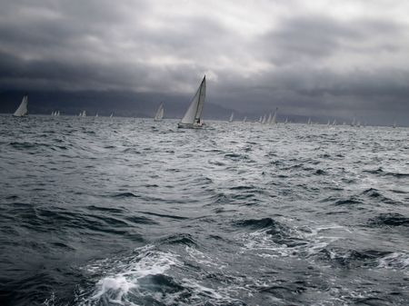 Photo taked during the Route of the Salt (Ruta de la sal) between Denia and Ibiza competing against sailboats for a trophy.